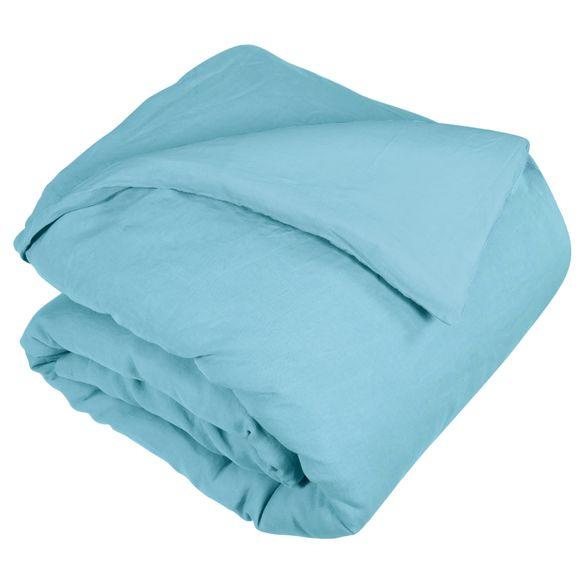 Copripiumino singolo in lino e cotone delavé azzurro