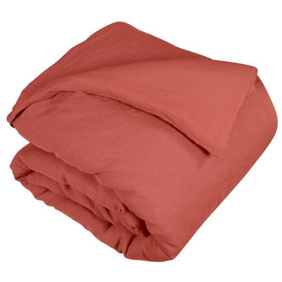 Copripiumino singolo in lino e cotone delavé rosso
