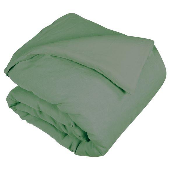 Copripiumino piazza e mezza in lino e cotone delavé verde salvia