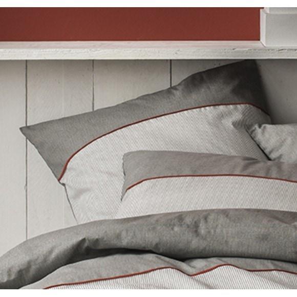 Federa in cotone percalle a righe grigio 50x70