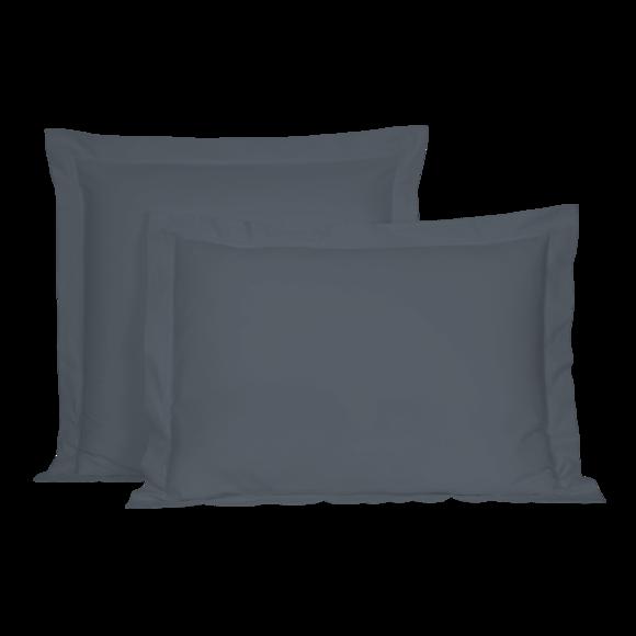 acquista online Federa in cotone percalle blu grigio 50x70cm