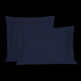 ZODIO - Taie d'oreiller rectangle en percale à finition passepoil bleu encre 50x70cm