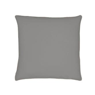 ZODIO - Taie d'oreiller carrée en percale à finition passepoil gris souris 65x65cm