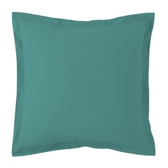 Taie d'oreiller percale avec bourdon bleu paon 65x65cm