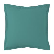 Achat en ligne Taie d'oreiller percale avec bourdon bleu paon 65x65cm
