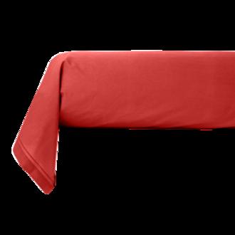 ZODIO - Taie de traversin en percale avec bourdon rouge grenade 44x185cm