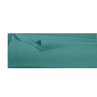 Drap plat en percale avec bourdon bleu paon 240x300cm