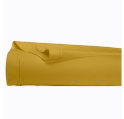 compra en línea Sábana lisa de percal con reborde amarillo mostaza (240 x 300 cm)