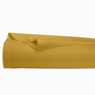 Drap plat en percale avec bourdon jaune curry 270x300cm