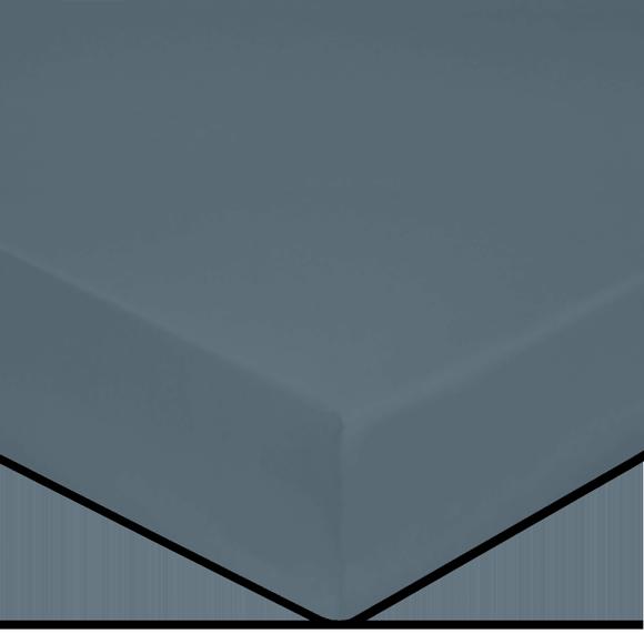 Lenzuolo con angoli singolo in cotone percalle blu grigio