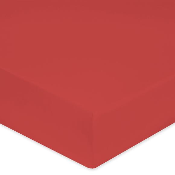 Lenzuolo con angoli piazza e mezza in cotone percalle rosso