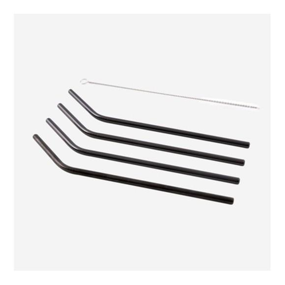 4 pailles courbées inox noir avec goupillon 20,5cm