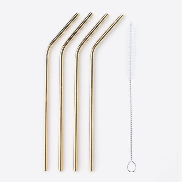 4 pailles courbées inox doré avec goupillon 20,5cm
