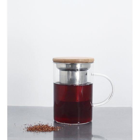 Tisanière en verre avec filtre inox et couvercle bois 50cl