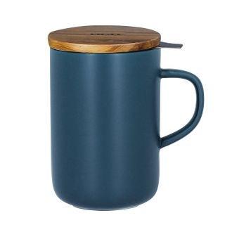Tisanière en grès avec filtre inox et couvercle bleu nuit