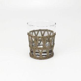 Gobelet en verre avec raphia naturel
