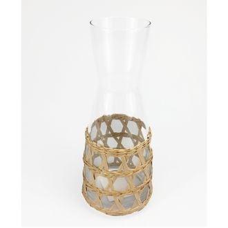 Carafe en verre avec raphia naturel