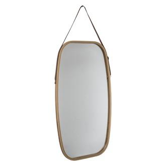 Miroir rectangulaire arrondi en bambou avec anse 77x43cm