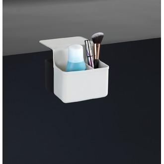 Rangement maquillage 2 compartiments en silicone blanc