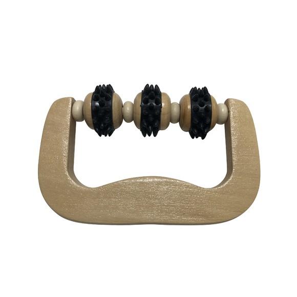 Rouleau de massage en bois noir trois roulettes 14,6x8,7x3,6