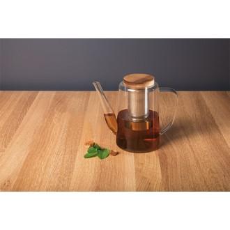 Théière en verre avec filtre inox et couvercle en bois 1,2l