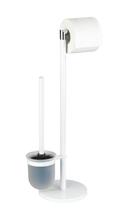 Achat en ligne Valet WC dérouleur + balai métal blanc