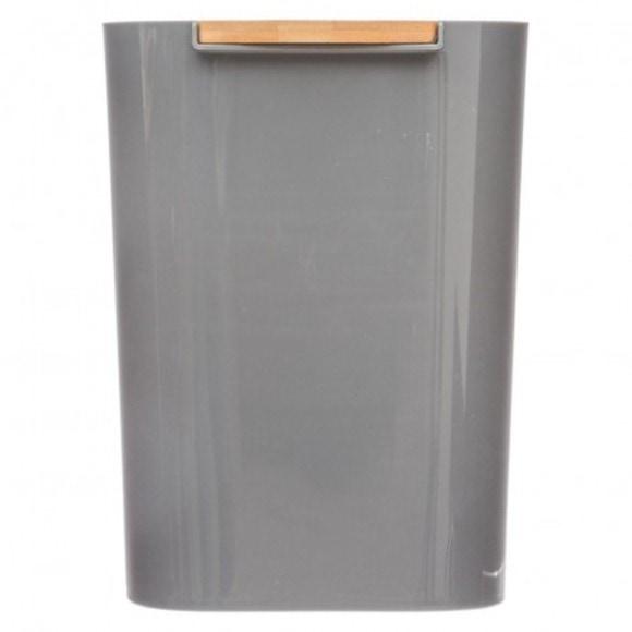 Poubelle plastique gris 5L avec couvercle bambou