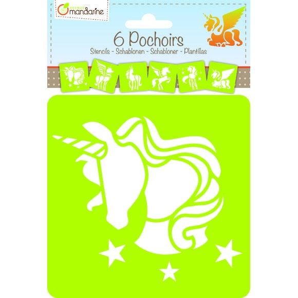 Achat en ligne 6 pochoirs licorne