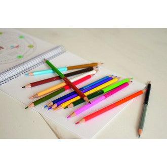 Boite métal 12 crayons de couleur double pointes