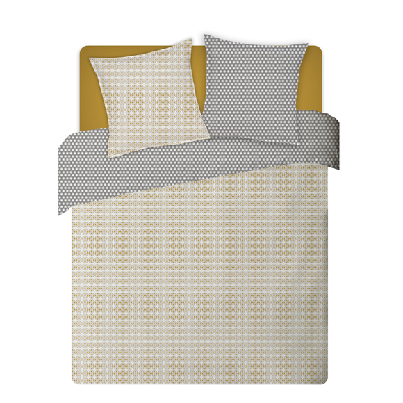 Copriumino matrimoniale king size in percalle geometrico giallo