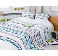 compra en línea Funda nórdica (240 x 220 cm) + 2 fundas de almohada blanco Gotas