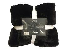 Achat en ligne Plaid en fausse fourrure rose gris charbon Olga 125x150cm