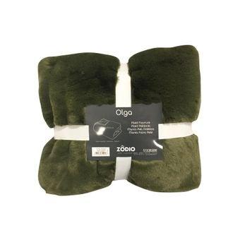 Plaid en fausse fourrure vert lichen Olga 125x150cm
