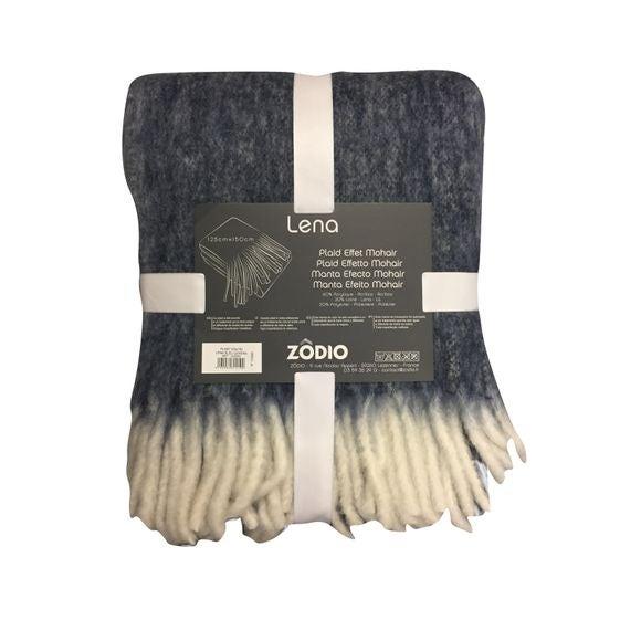 acquista online Plaid effet mohair à franges bleu cendré Lena 125x150cm
