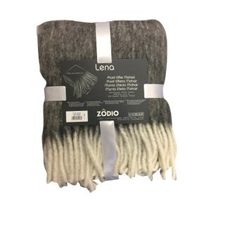 ZODIO - Plaid effet mohair à franges gris souris Lena 125x150cm