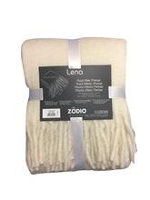 Achat en ligne Plaid 125x150cm effet laine mohair à franges blanc titane Lena