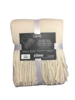 Plaid 125x150cm effet laine mohair à franges blanc titane lena