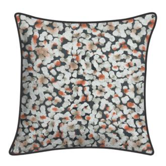 Coussin coton à motifs piping gris charbon fusion 40x40cm