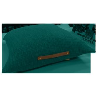 Coussin de sol anse en cuir malachite 60x60cm