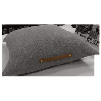 ZODIO - Coussin de sol uni avec anse en cuir gris souris Junga 60x60cm