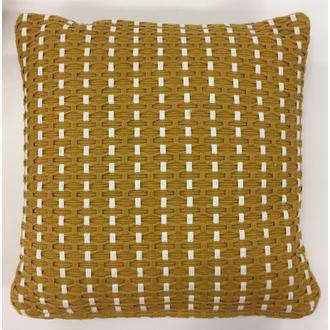 Coussin en coton tressé uni jaune curry dino 40x40cm