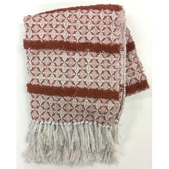 Plaid en coton tissé à motifs rouge sienne Luiro 125x150cm