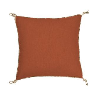 Coussin en coton uni finition corde orange écureuil nodo 40x40