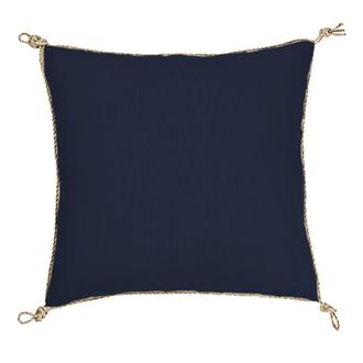 Coussin en coton uni finition corde bleu encre nodo 40x40cm
