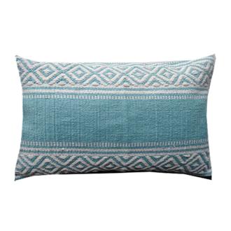 Coussin en coton tissé à motifs bleu maldives bahamas 30x60