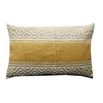 Coussin en coton tissé à motifs jaune moutarde bahamas 30x60