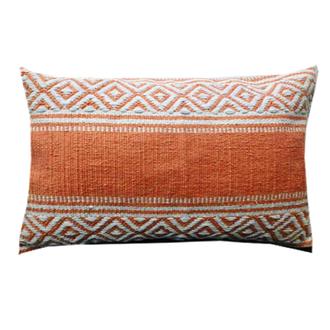 Coussin en coton tissé à motifs orange potiron bahamas 30x60