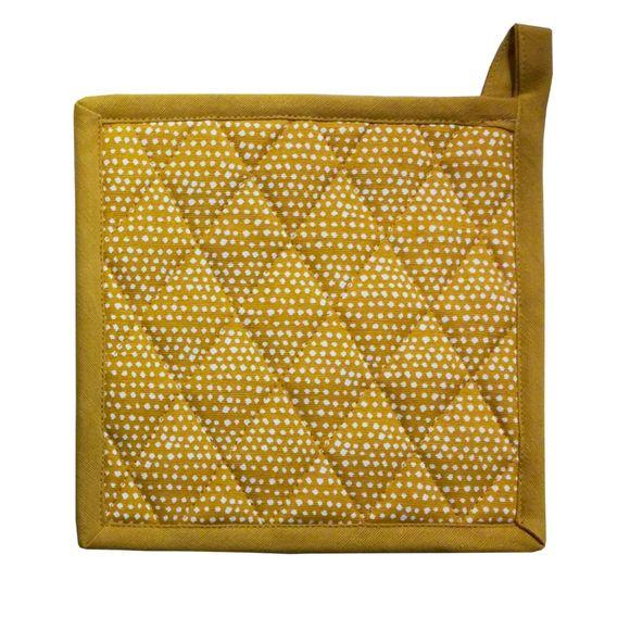 Manique imprimée coton garniture polyester, curry