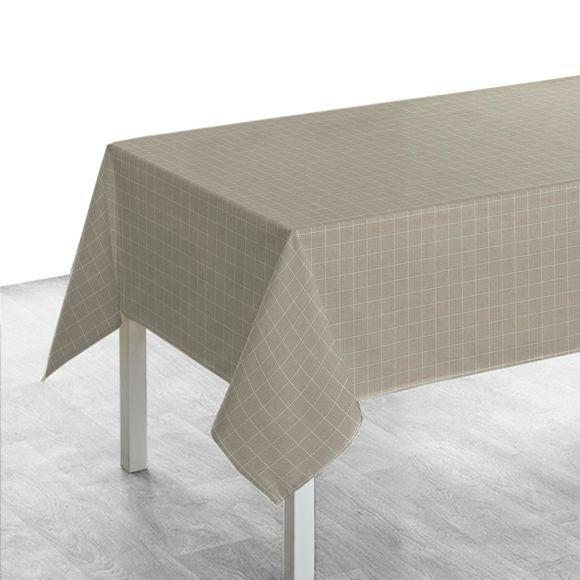 Tovaglia quadrata in cotone con motivo geometrico beige 150x150cm