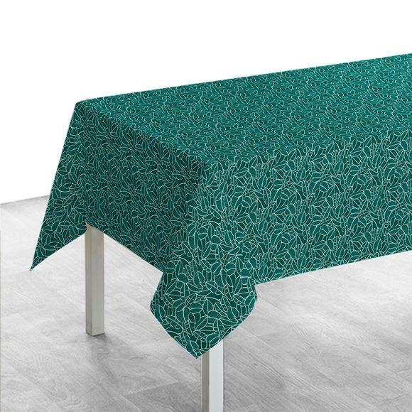 Tovaglia rettangolare in cotone con decori, verde, 150x250 cm